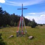 Metalowy krzyż na skrzyżowaniu dróg do Orzechowa, Orzechówka i Cadowa