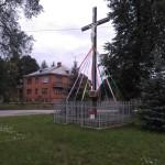 Radziechowice Drugie – pamiątkowy krzyż na miejscu dawnego kościoła