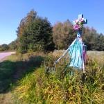 Przydrożna kapliczka na skraju powiatu i województwa (między Wyrębiskami a Bożą Wolą)