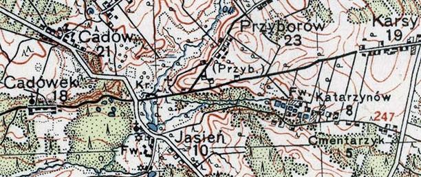 mapa_wig_1935_p45_s29_fragment_krzyz_cmentarz_choleryczny_jasien