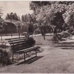 Czarno-biała pocztówka z Radomska: park z muszlą koncertową (1965 r.)