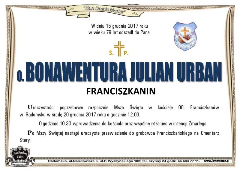o_bonawentura_julian_urban_info_pogrzeb