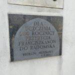 Tablica na 700. rocznicę przybycia Franciszkanów do Radomska
