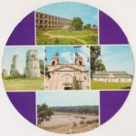 Okrągła pocztówka z radomszczańskim Technikum Mechanicznym, ruinami zamku w Majkowicach i dworem w Bąkowej Górze