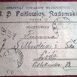 Pocztówka reklamowa z Radomska – sprzedaż towarów włóknistych J. D. Feitlowicz